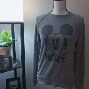 Disney Gray x Black Mickey Pullover Sweater - M
